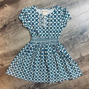 -Matilda Jane Blue & Cream Design Cotton Dress